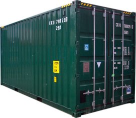 Green 20 foot shipping container