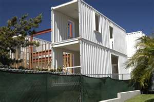Shipping container house under construction.