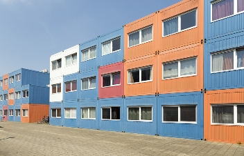 student dorm constructed with shipping containers