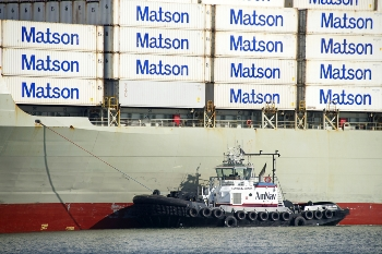 Matson cargo ship with Matson shipping containers