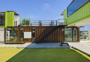 modern home made from shipping containers