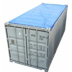 Open top container with tarp on.