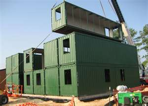 shipping container apartment building under construction