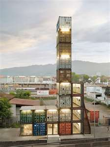tall shipping container structure