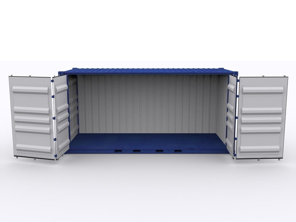 Open side container with side doors open.