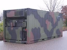 reefer container on land painted camo style