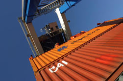 shipping containers in transit