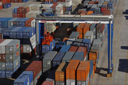 shipping containers at port